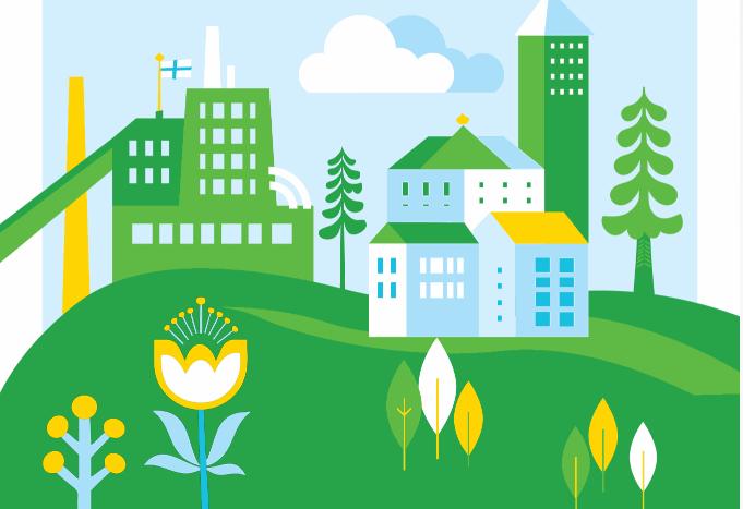 Piirrettyjä taloja, voimalaitos ja luontoa